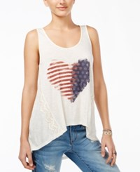 American Rag Juniors' High Low Graphic Tank Top Only At Macy's White Combo
