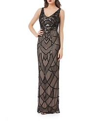 Js Collections Art Deco Beaded Gown Black Nude