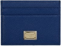 Dolce And Gabbana Blue Leather Card Holder