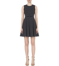 Moandco. Striped Knitted Dress Blue And White
