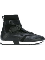 Versace Strap Laced Hi Top Sneakers Black