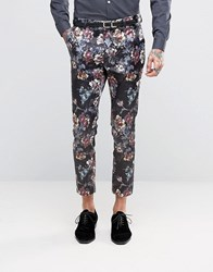 Asos Super Skinny Cropped Trouser In Dark Floral Print Purple