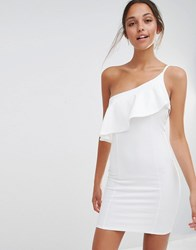 Missguided One Shoulder Ruffle Bodycon Dress White
