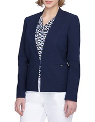 Tahari By Arthur S. Levine Petite Open Front Jacquard Jacket Navy