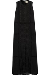 Sea Cutout Embroidered Cotton Voile Maxi Dress Black