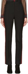 Givenchy Black And Red Wool Striped Trousers