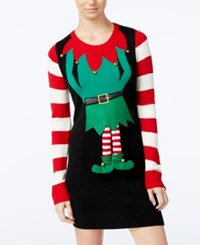 Hooked Up By Iot Juniors' Elf Holiday Sweater Dress Black