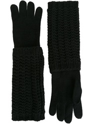 Moncler Long Knitted Gloves Black