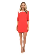 Brigitte Bailey Becky Color Block Shift Dress Red Cream Women's Dress