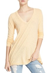 Free People Women's 'Anna' Burnout High Low Tee Yellow