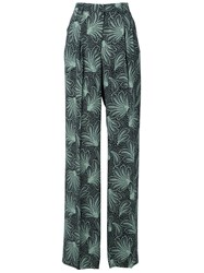 Dries Van Noten Tropical Plant 'Page' Pleated Palazzo Trousers Black