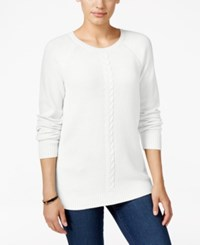 Karen Scott Cable Knit Crew Neck Sweater Only At Macy's Winter White