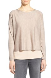 Women's Eileen Fisher Merino Knit Crop Long Sleeve Sweater Natural