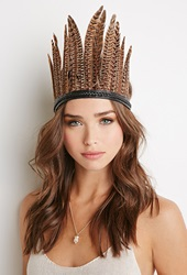 Forever 21 Braided Feather Headband Black Brown
