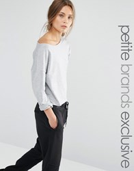 One Day Petite Off Shoulder Slouchy Sweat Gray Marl