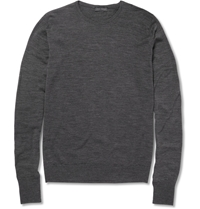 John Smedley Marcus Crew Neck Merino Wool Sweater Gray