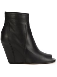 Rick Owens Peep Toe Wedge Boots Black