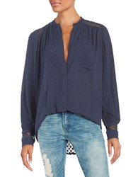 Free People The Best Top Crochet Accented Button Front Shirt Navy