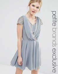 Maya Petite Short Sleeve Mini Dress With Embellished Sleeves And Wrap Front Detail Grey