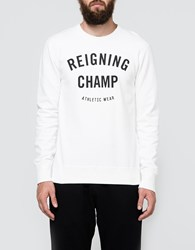 Reigning Champ Gym Logo Ls Crewneck Winter White
