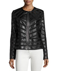 Bagatelle Faux Leather Striped Jacket Black