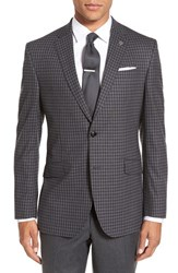 Ted Baker Men's London 'Jones' Trim Fit Plaid Stretch Wool Sport Coat Charcoal