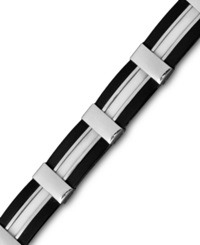Macy's Men's Stainless Steel And Rubber Bracelet Black And White Cable Link