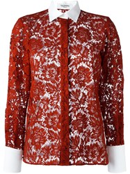 Valentino Floral Lace Effect Shirt Red