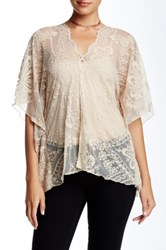 3J Workshop Lace Poncho Blouse Beige
