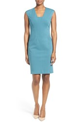 Women's Classiques Entier V Neck Seamed Ponte Sheath Dress Teal Hydro