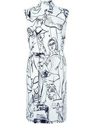 Emilio Pucci Ilustrated Belt Dress White