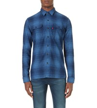 Levi's Pinnacle Worker Regular Fit Cotton Shirt Cudweed Indigo Plaid