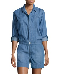 Fade To Blue Chambray Tab Sleeve Short Jumpsuit Light Blue