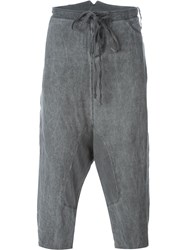 Lost And Found Rooms Drop Crotch Cropped Trousers Grey