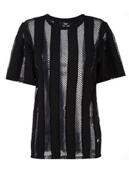 Versus Striped T Shirt Black
