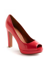 Marc By Marc Jacobs Peep Toe Patent Leather Platform Pumps Coral