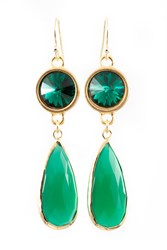 Isabella Tropea Crystal And Gemstone Daydreamer Earring Green Onyx And Emerald Crystal