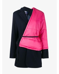 Jacquemus Coat With Contrasting Quilted Side Navy Pink Black White