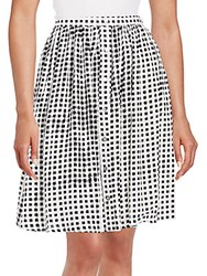 Minkpink Check Print Gathered Skirt Black White