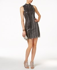 Guess Open Back Sequined Sheath Dress Silver