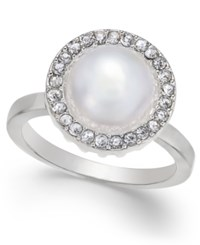 Inc International Concepts Silver Tone Imitation Pearl Halo Ring Only At Macy's