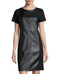 Michael Michael Kors Faux Leather Ponte Sheath Dress Black