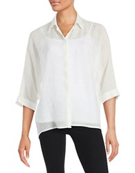 Imnyc Isaac Mizrahi Sheer Button Front Blouse Ivory