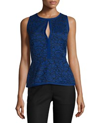 J. Mendel Sleeveless Lace Peplum Top Imperial Blue