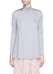 Valentino Ruched Silk Jersey Top Grey