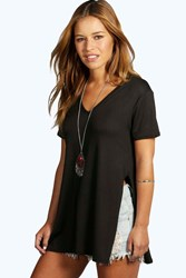Boohoo Taylor Split Side T Shirt Black