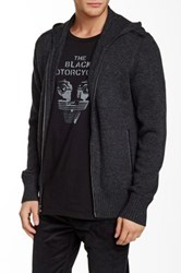 John Varvatos Hooded Cashmere And Leather Sweater Gray