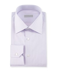 Stefano Ricci Thin Striped Woven Dress Shirt Purple Women's Blue