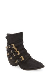Free People Women's 'Mason' Western Bootie Washed Black Leather