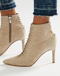 Kendall And Kylie Beige Suede Point Stiletto Lace Up Boot Beige Suede